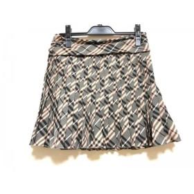 【中古】 バーバリーブルーレーベル スカート サイズ36 S レディース 美品 ダークグレー ピンク マルチ