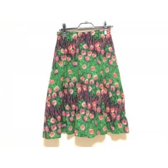 【中古】 シビラ Sybilla スカート サイズL レディース グリーン ピンク マルチ 花柄
