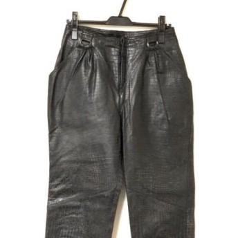 【中古】 ロッサ ROSSA パンツ サイズ44 L レディース 黒 IMPORT ROSSA/レザー/型押し加工