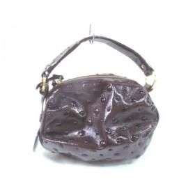 【中古】 サマンサタバサ ハンドバッグ ダークブラウン スタッズ エナメル(合皮) 金属素材