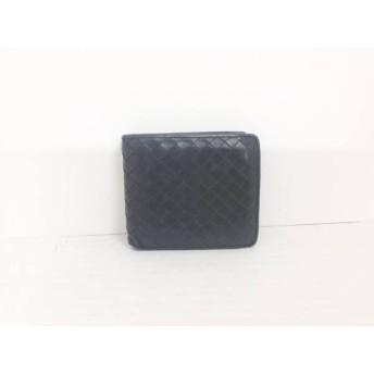 【中古】 シビラ Sybilla 2つ折り財布 黒 編み込み レザー