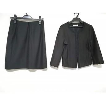 【中古】ノーリーズ NOLLEY'S スカートスーツ サイズ38 M レディース 黒 ノーカラー 値下げ 20181202