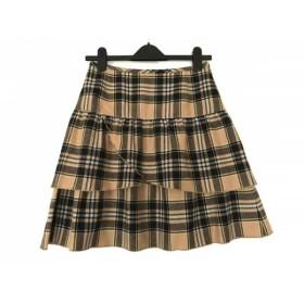 【中古】 ヨークランド YORKLAND スカート サイズ11AR M レディース ベージュ 黒 マルチ チェック柄