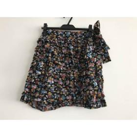 【中古】 トリココムデギャルソン 巻きスカート レディース 黒 ブルー マルチ 花柄