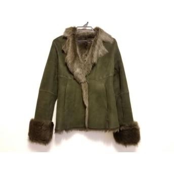 【中古】 ダナキャラン DKNY コート サイズ4 XL レディース 美品 ダークグリーン ムートン/冬物