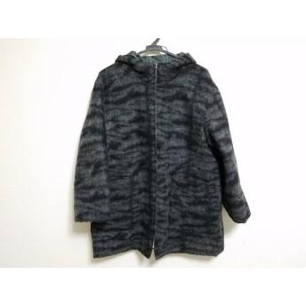 【中古】 ユキコハナイ YUKIKO HANAI コート サイズ10 L レディース グレー 黒 ジップアップ/冬物
