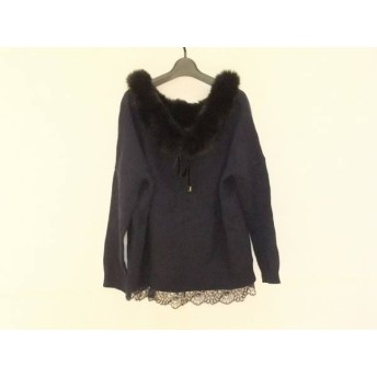【中古】 グレースコンチネンタル 長袖セーター サイズ36 S レディース 美品 ダークネイビー 黒