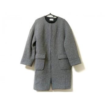 【中古】 プラステ PLS+T(PLST) コート サイズL レディース 美品 ライトグレー 冬物