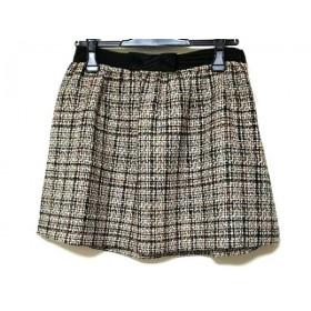 【中古】 クレイサス ミニスカート サイズ38 M レディース 黒 ベージュ マルチ チェック柄/リボン