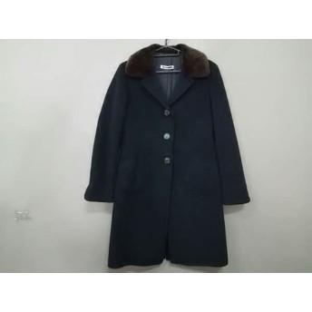 【中古】 ジルサンダー JILSANDER コート サイズ34 XS レディース 黒 ブラウン ファー/冬物