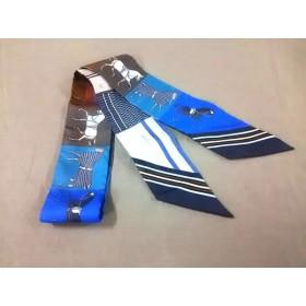 【中古】 エルメス HERMES スカーフ 美品 ツィリー H063211S ブルー ダークブラウン マルチ
