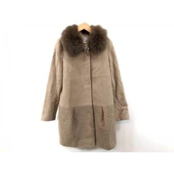 【中古】 リランドチュール コート サイズ1 S レディース ライトブラウン ダークブラウン ビジュー/冬物