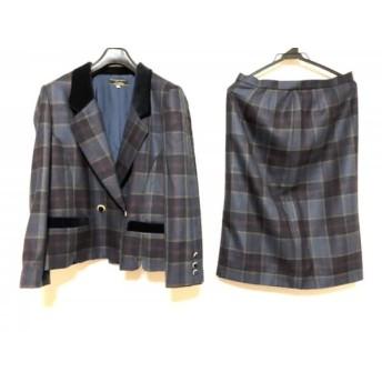 【中古】 レリアン Leilian スカートスーツ サイズ11 M レディース 美品 ネイビー ボルドー マルチ