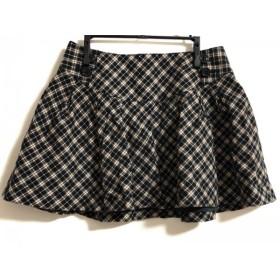 【中古】 バーバリーブルーレーベル ミニスカート サイズ38 M レディース 黒 ダークブラウン マルチ
