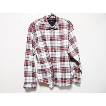 【中古】 ブラックレーベルクレストブリッジ 長袖シャツ サイズ4 XL メンズ 白 レッド マルチ