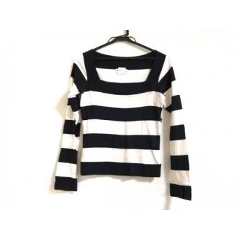 【中古】 アニエスベー agnes b 長袖Tシャツ サイズ2 M レディース 黒 白 ボーダー