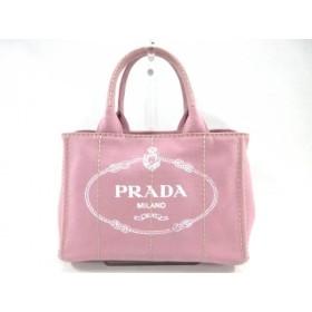 【中古】 プラダ PRADA トートバッグ CANAPA 1BG439 ピンク キャンバス