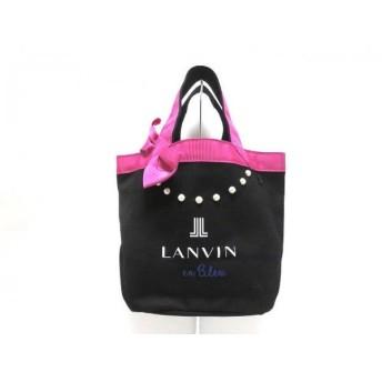【中古】 ランバンオンブルー LANVIN en Bleu トートバッグ 美品 ピンク 黒 白 リボン キャンバス