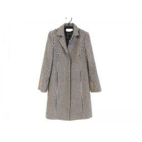 【中古】 ヴァンドゥ オクトーブル コート サイズ38 M レディース 黒 白 冬物/千鳥格子 毛化学繊維