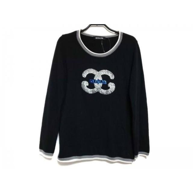 【中古】 イタリヤ 長袖セーター サイズ9 M レディース 黒 グレー カシミヤ/ラインストーン