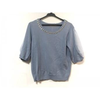 【中古】 アプワイザーリッシェ 半袖セーター サイズ2 M レディース ライトブルー ビジュー