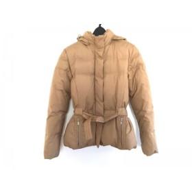 【中古】 トミーヒルフィガー ダウンジャケット レディース ベージュ ジップアップ/冬物/フード取り外し可