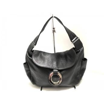 【中古】 フルラ FURLA ハンドバッグ 美品 黒 シルバー レザー 金属素材