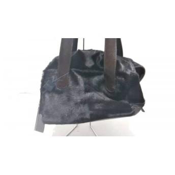 【中古】 グイアス GUIA'S ハンドバッグ 黒 ダークブラウン ハラコ レザー