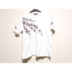 【中古】 ハナタビガクダン 花旅楽団 半袖Tシャツ サイズM メンズ 白 マルチ 刺繍/花柄