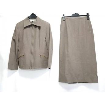 【中古】 アンタイトル UNTITLED スカートスーツ サイズ9 M レディース グレーブラウン ジップアップ