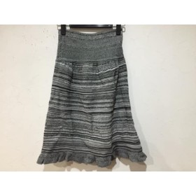 【中古】 マダムヒロコ MADAME HIROKO スカート サイズM-L レディース 黒 白 ニット/ボーダー