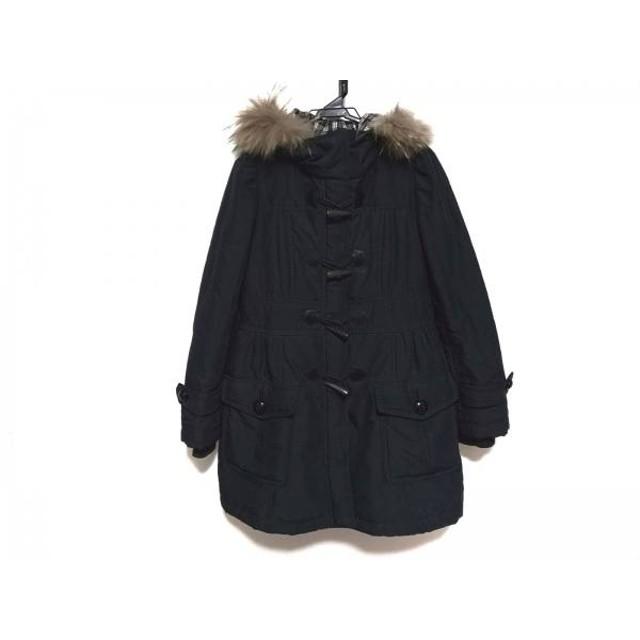 【中古】 バーバリーブルーレーベル コート サイズ40 M レディース 黒 ジップアップ/ファー/冬物