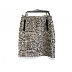 【中古】 マルティニーク スカート サイズ2 M レディース 美品 黒 ブラウン マルチ ツイード/ラメ