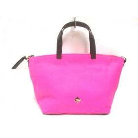 【中古】 ケイトスペード Kate spade ハンドバッグ 美品 ピンク 黒 リボン レザー