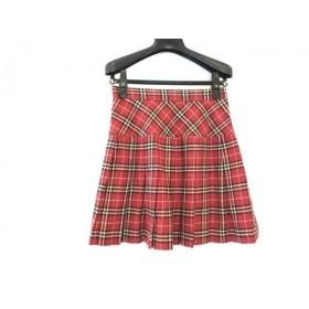 【中古】 ピンクハウス スカート サイズM レディース レッド 黒 アイボリー CHELSEA/チェック柄