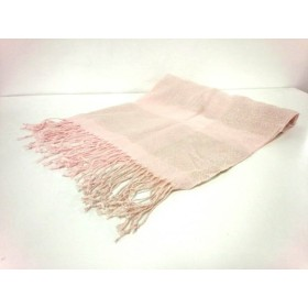 【中古】 ミッシェルクラン ストール(ショール) 美品 ピンク シルバー アクリル ポリエステル