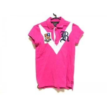 【中古】 ラルフローレンラグビー 半袖ポロシャツ サイズM レディース ピンク 白 ネイビー