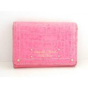 【中古】 サマンサタバサ Samantha Thavasa 名刺入れ ピンク 型押し加工 合皮