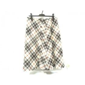 【中古】 クミキョク 組曲 KUMIKYOKU スカート サイズ5 XS レディース 白 茶 オレンジ