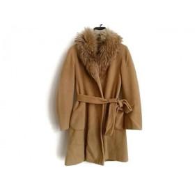 【中古】 ダナキャラン DKNY コート サイズ4 XL レディース ブラウン ファー/冬物