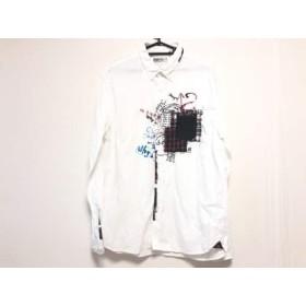 【中古】 デシグアル Desigual 長袖シャツ サイズXXL XL メンズ 白 黒 マルチ