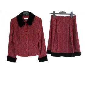 【中古】 エムズグレイシー M'S GRACY スカートセットアップ サイズ11 M レディース 美品 ボルドー 黒