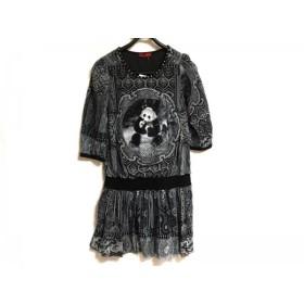 【中古】 ヴィヴィアンタム ワンピース レディース 美品 黒 ライトグレー 白 メッシュ/ビーズ/パンダ