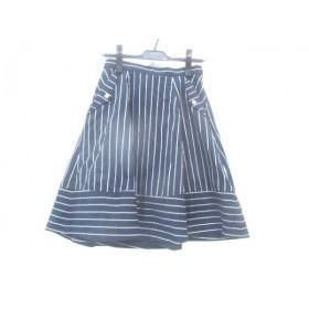 【中古】 フェルゥ Feroux スカート サイズ2 M レディース ネイビー ホワイト