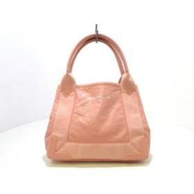 【中古】 バレンシアガ トートバッグ ネイビーカバXS 390346 ピンク ミニサイズ レザー キャンバス