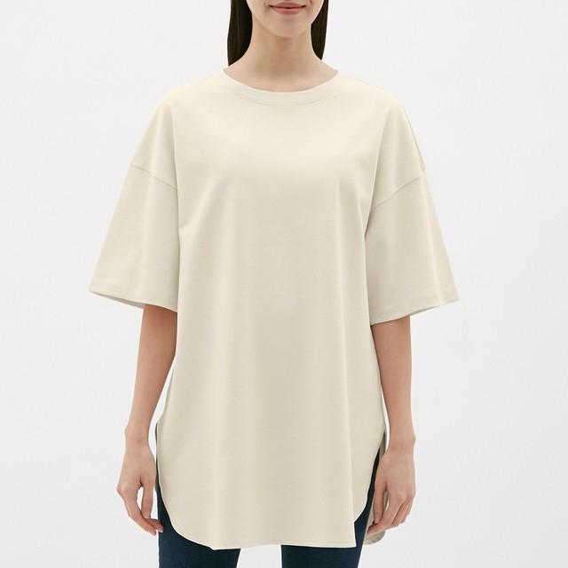(GU)ヘビーウェイトオーバーサイズT(5分袖) NATURAL XL