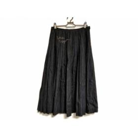 【中古】 ロイスクレヨン Lois CRAYON ロングスカート サイズM レディース ダークグレー アイボリー 刺繍