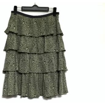 【中古】 ロイスクレヨン Lois CRAYON スカート レディース 美品 アイボリー 黒 ネイビー 花柄