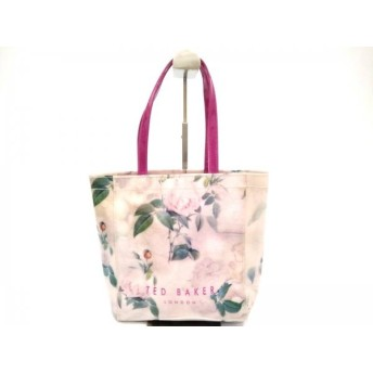 【中古】 テッドベイカー TED BAKER トートバッグ ピンク グリーン マルチ 花柄 ビニール