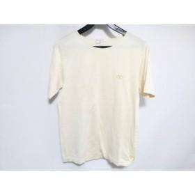 【中古】 バレンチノガラバーニ VALENTINOGARAVANI 半袖Tシャツ レディース アイボリー ゴールド 刺繍